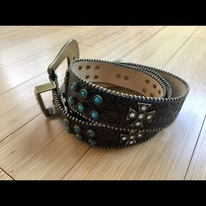 Turquoise and Rhinestone Leather Belt